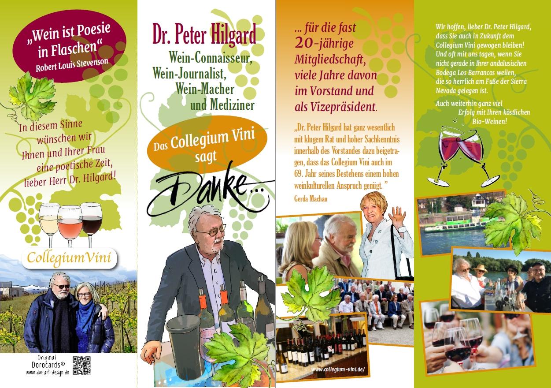 Das Collegium Vini sagt Danke an Dr. Peter Hilgard