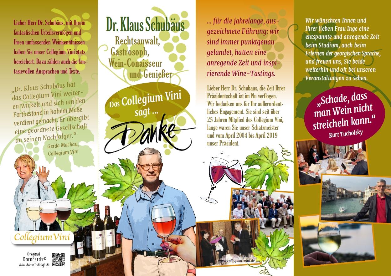 Das Collegium Vini sagt Danke an Dr. Klaus Schubäus